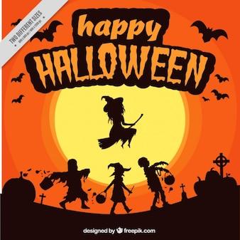 Fondo espeluznante con monstruos de halloween