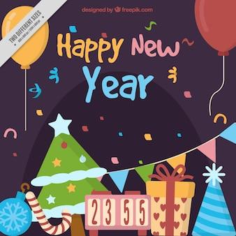 Fondo fantástico con decoración colorida para año nuevo
