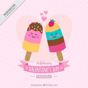 Fondo fantástico con helados enamorados para el día de san valentín