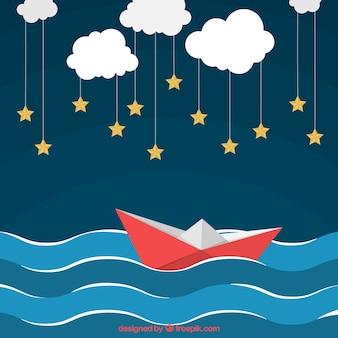Fondo fantástico de barcos de papel y nubes con estrellas