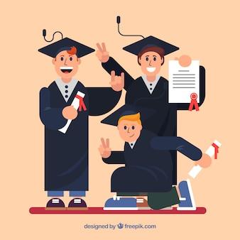 Fondo fantástico de graduados felices