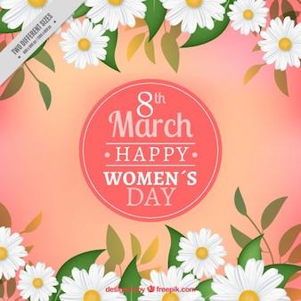 Fondo fantástico del día de la mujer con margaritas realistas