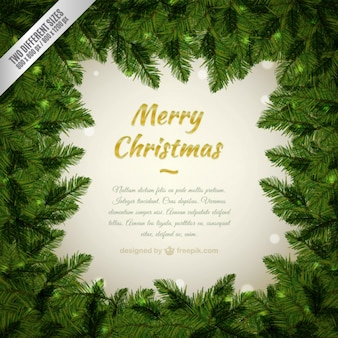 Fondo Feliz Navidad con un marco de pino