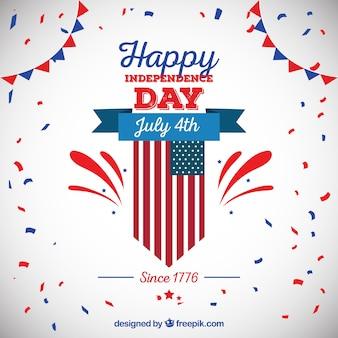 Fondo festivo con confeti para el día de la independencia