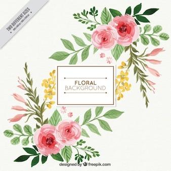 Fondo floral bonito de acuarela