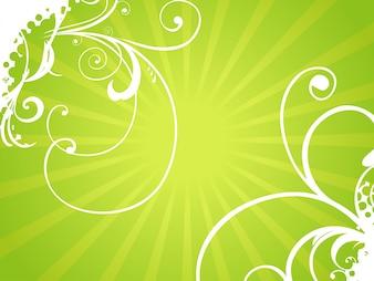 Fondo floral brilloso verde
