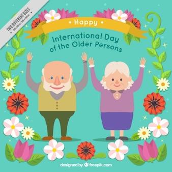Fondo floral con abuelitos felices