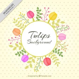 Fondo floral con tulipanes dibujados a mano