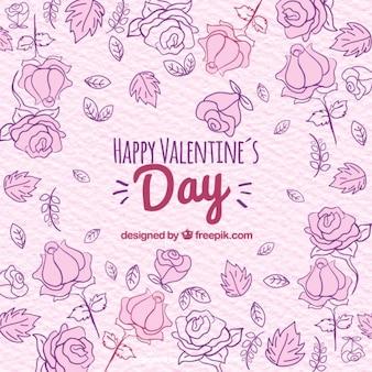 Fondo floral dibujado a mano del día de san valentín