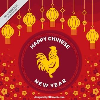 Fondo floral para el año nuevo chino con faroles y gallo