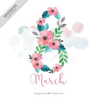 Fondo floral pintado con acuarela para el día de la mujer