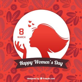Fondo floral rojo con círculo blanco para el día de la mujer