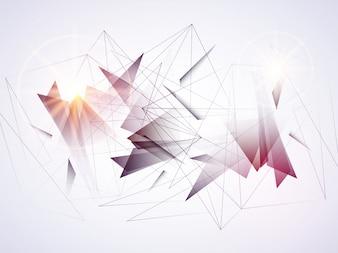 Fondo geométrico abstracto futurista con líneas y triángulos conectados.