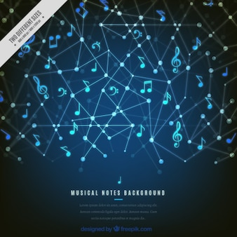 Fondo geométrico de notas musicales