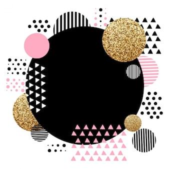 Fondo geométrico fantástico con detalles de rosas