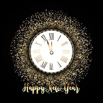 Fondo glitter con un reloj para año nuevo