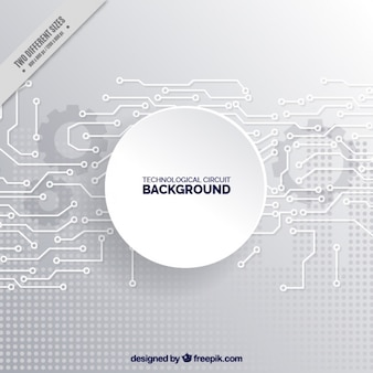 Fondo gris de circuitos tecnológicos