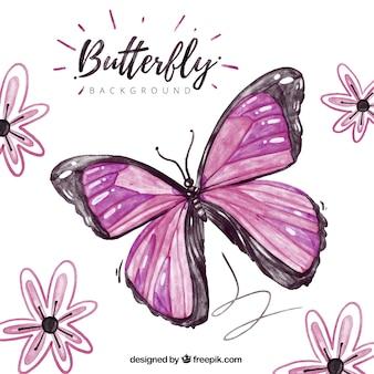 Fondo hermoso con mariposa morada y flores