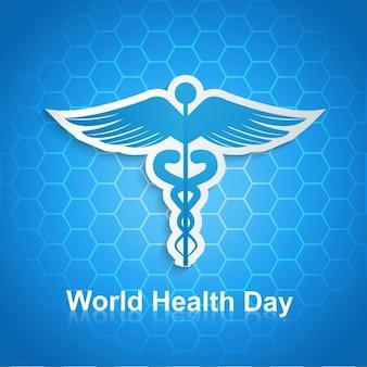 Fondo hexagonal del día mundial de la salud con símbolo caduceus