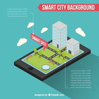 Fondo infográfico de móvil con ciudad inteligente