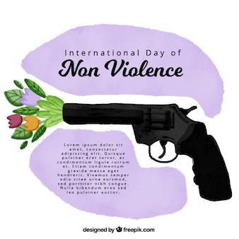 Fondo inspirador de acuarela de arma disparando flores