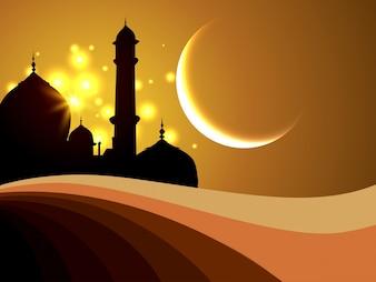 Fondo islámico abstracto con silueta