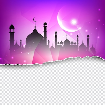 Fondo islámico con mezquita de papel rasgado