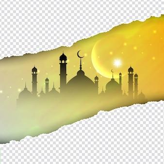 Fondo islámico con mezquita y de papel rasgado