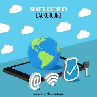Fondo isométrico de elementos de seguridad en internet
