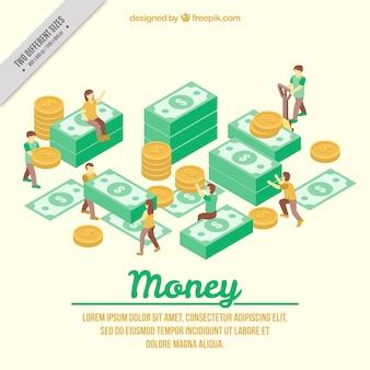Fondo isométrico de gente con billete y monedas