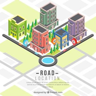 Fondo isométrico de mapa de carretera con edificios