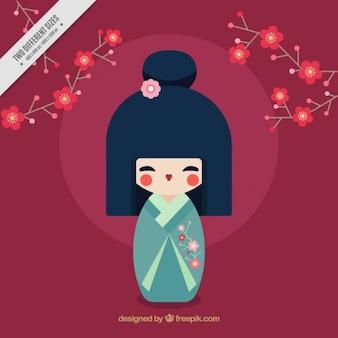 Fondo japonés con geisha