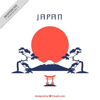 Fondo japonés con montaña y árboles