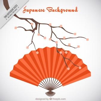 Fondo japonés con un abanico de color  rojo