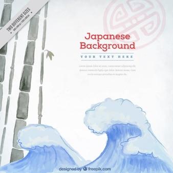 Fondo japonés de olas de acuarela y bamboo
