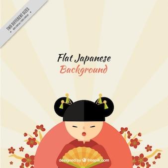 Fondo japonés de simpática geisha en diseño plano