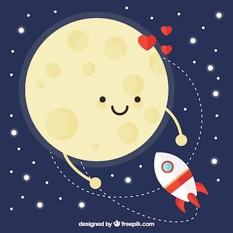 Fondo lindo de luna feliz con cohete