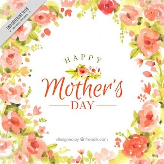Fondo lleno de flores y con acuarelas del Día de la Madre