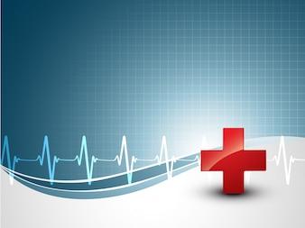 Fondo médico con latido de corazón y plus signo