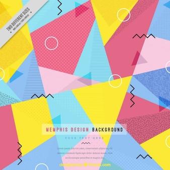Fondo memphis poligonal de colores