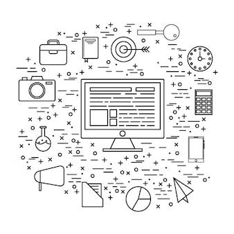 Fondo minimalista de ordenador y elementos de negocio