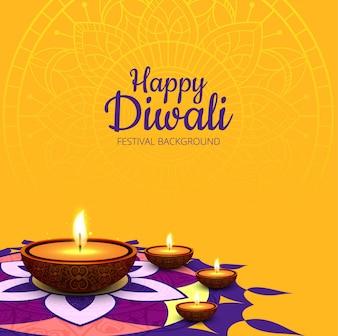 Fondo moderno amarillo de diwali
