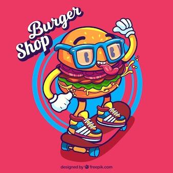 Fondo moderno con personaje de hamburguesa