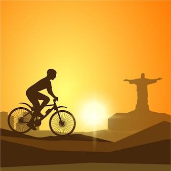 Fondo monocromático con silueta de ciclista