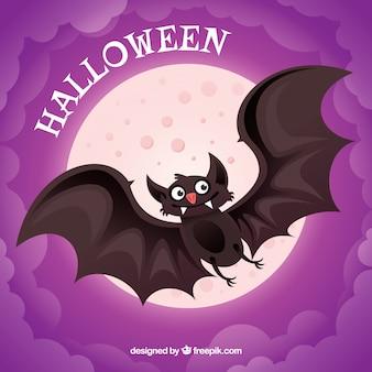 Fondo morado con luna y simpático murciélago
