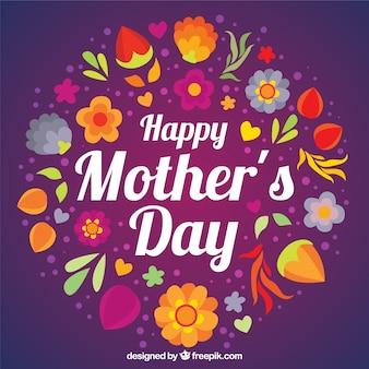 Fondo morado de Feliz Día de la Madre con flores