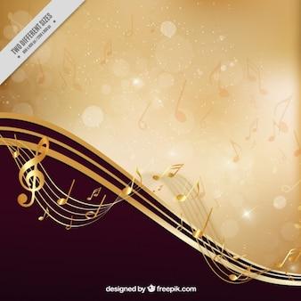 Fondo musical elegante dorado