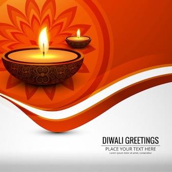 Fondo naranja con luces para diwali