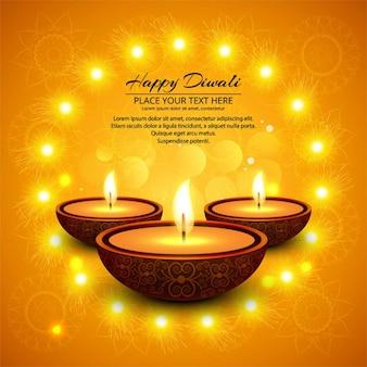 Fondo naranja con velas para celebrar diwali