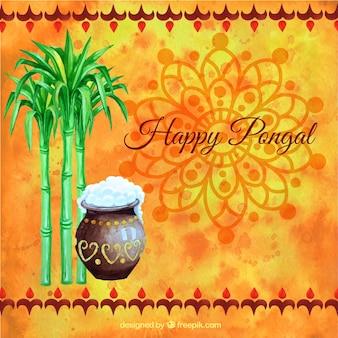 Fondo naranja de feliz Pongal pintado a mano